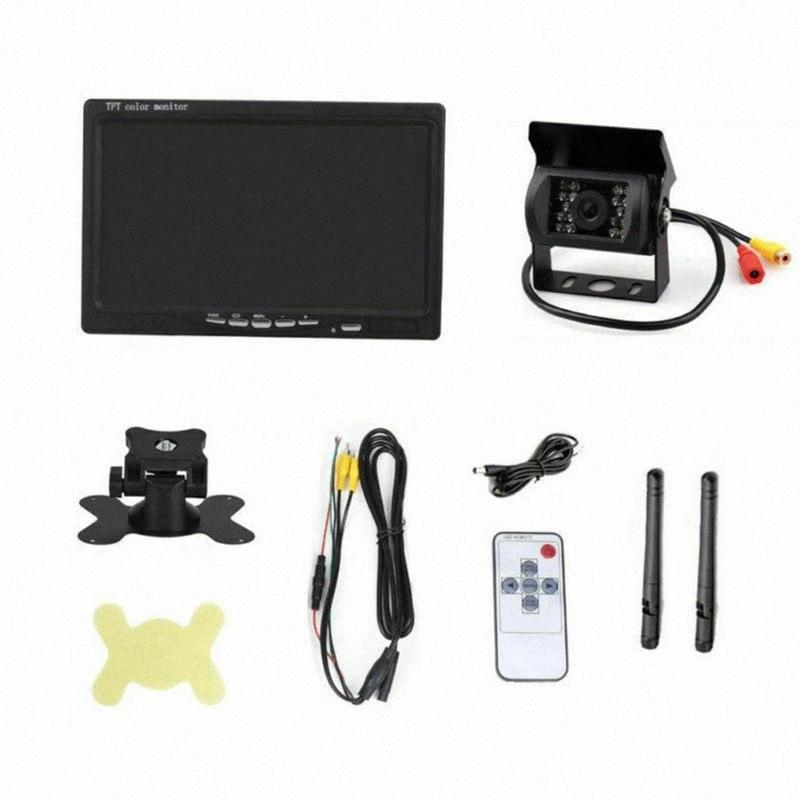"Waterproof Rear View Wireless Truck Durable Night Vision Bus Reversing Camera Metal Car Universal Parking System 7"" LCD Monitor jAgJ#"