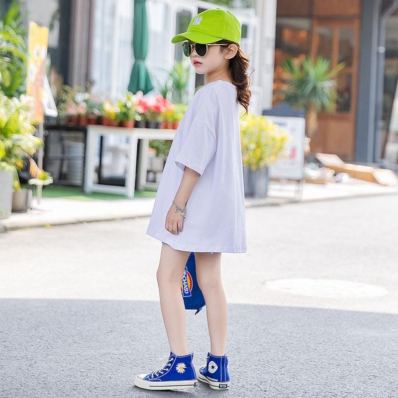 4d9ek 2020 vêtements d'été filles pur coton à manches courtes T-shirt blanc nouveau moyen et grand enfants top T-shirt ample manteau haut à manches moitié
