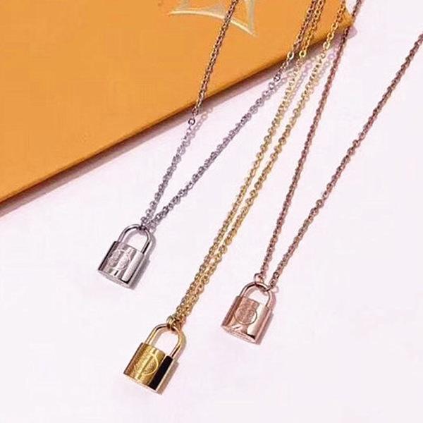 Lüks Takı Gümüş Gül Altın Kilidi Kolye Tasarımcı Kolye 18 K Altın Paslanmaz Zincir Kadınlar Kolye Sevgililer Günü Hediye Kişilik
