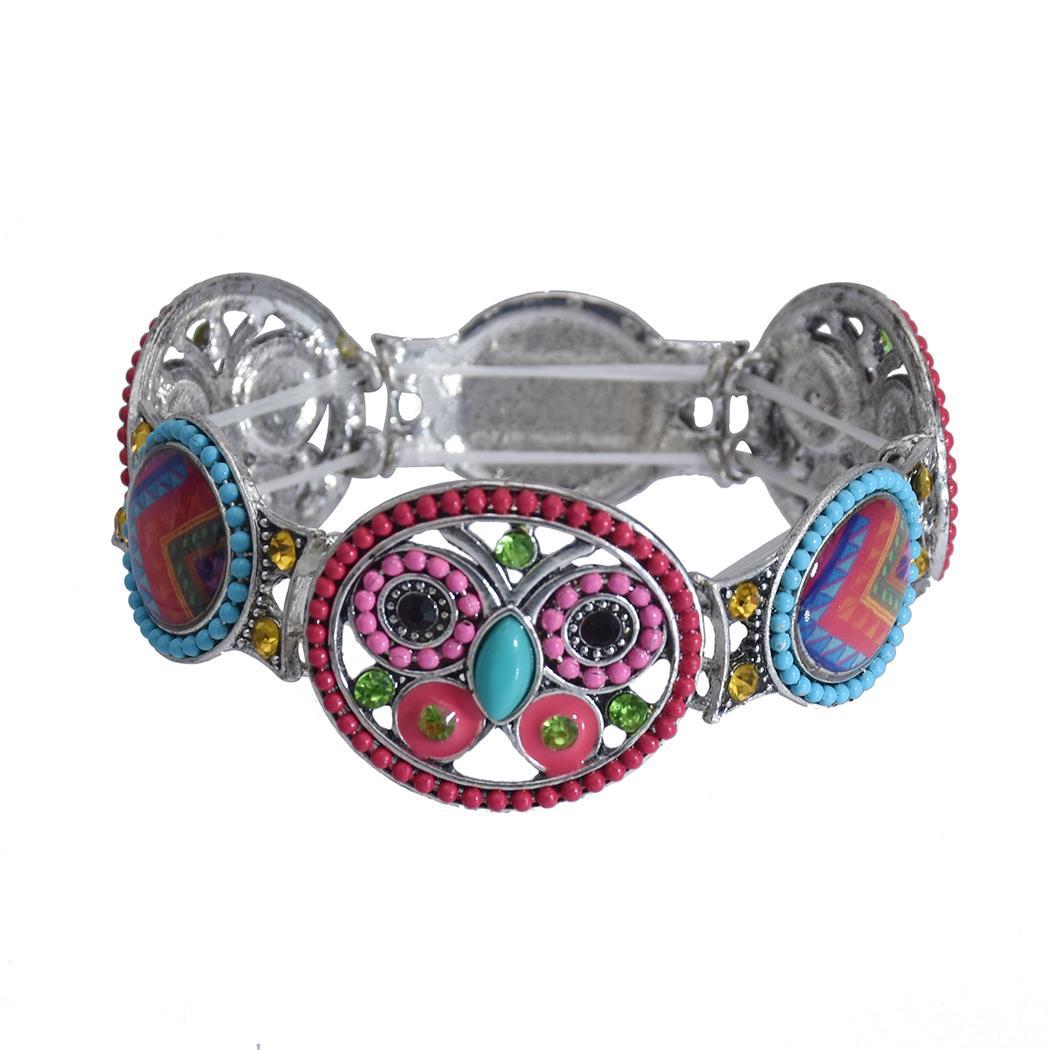أزياء نمط الرجعية مع حجر الراين ملون نموذج الفراشة على شكل زهرة مطاطا سوار مجوهرات للنساء