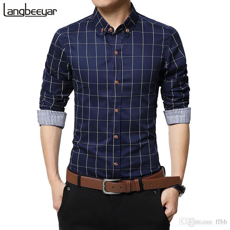 Осенняя мода бренд одежда Slim Fit Men с длинным рукавом хлопок хлопок повседневная социальная плюс размер M-5XL кг-14