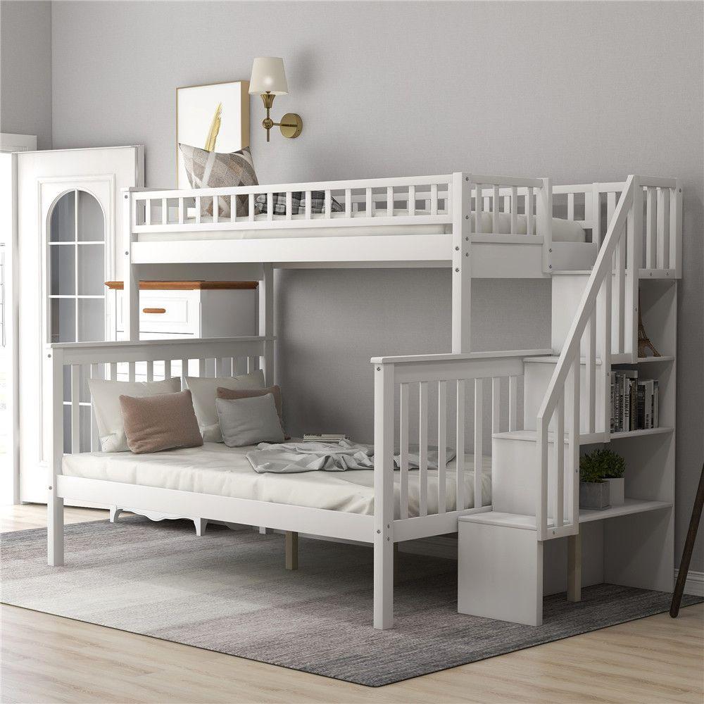 Сосновый лес двухъярусные кровати Твин Более полный с лестницей и перилами, Миссия Стиль Вуд Твин Более полный Кровать с хранения Полки для детей для взрослых