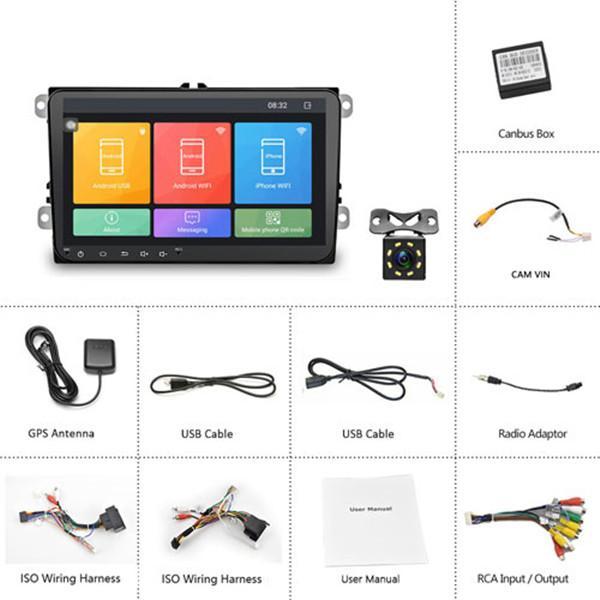 Freeshipping Android 8,1 2 Din радио GPS мультимедиа плеер Автомобиль Радио для Volkswagen / VW / Passat / POLO / GOLF / Skoda / Seat / Leon Radio