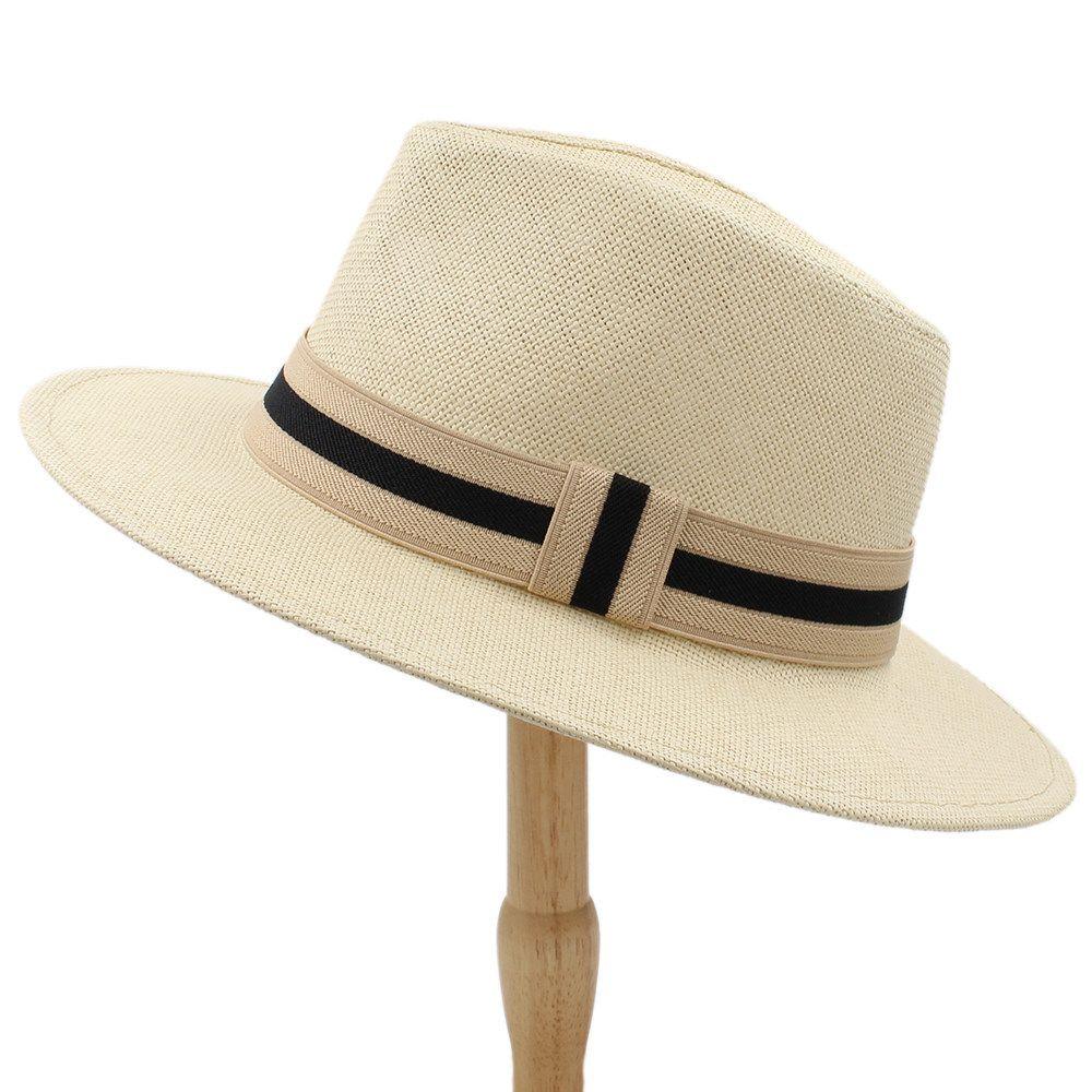 Mode Femmes Hommes de paille Chapeau de soleil avec une large Brim Chapeau de Panama pour la plage Fedora Hat Jazz Taille 56-58cm Y200716