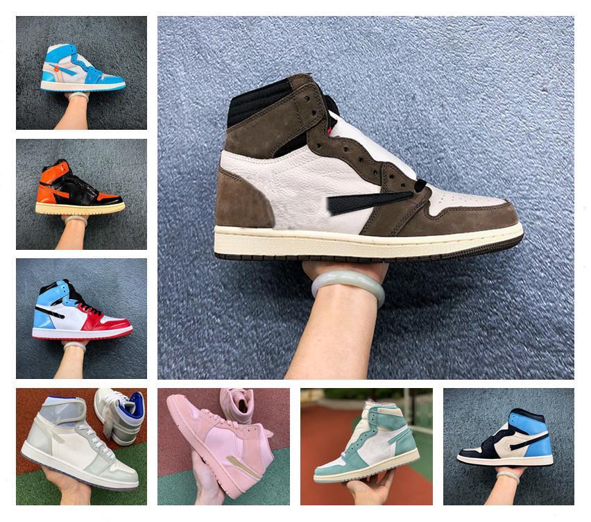 2020 Jumpman 1 1S High Og Travis Scotts Обсидиана UNC Баскетбольные Обувь Мужская Чикаго Грязные Розовые пальцы дымкие Серый Дизайнер Спортивные кроссовки