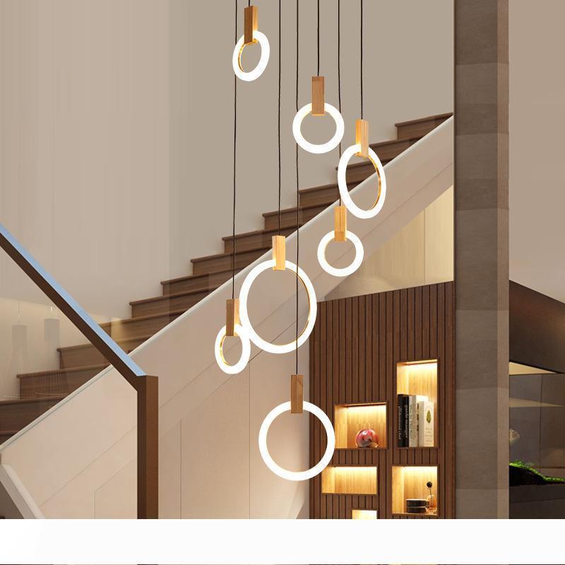 Lustre LED contemporaine Nordic Lights LED droplights anneaux acryliques escalier éclairage 3 5 6 7 10 anneaux appareil d'éclairage intérieur