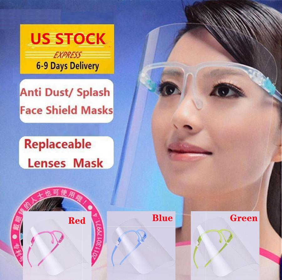 US STOCK, 5 Colors Clear Protective Face Shield Mask Plastic Screen Full Face Protection Isolation Mask Anti-fog Oil Protective Mask Shield
