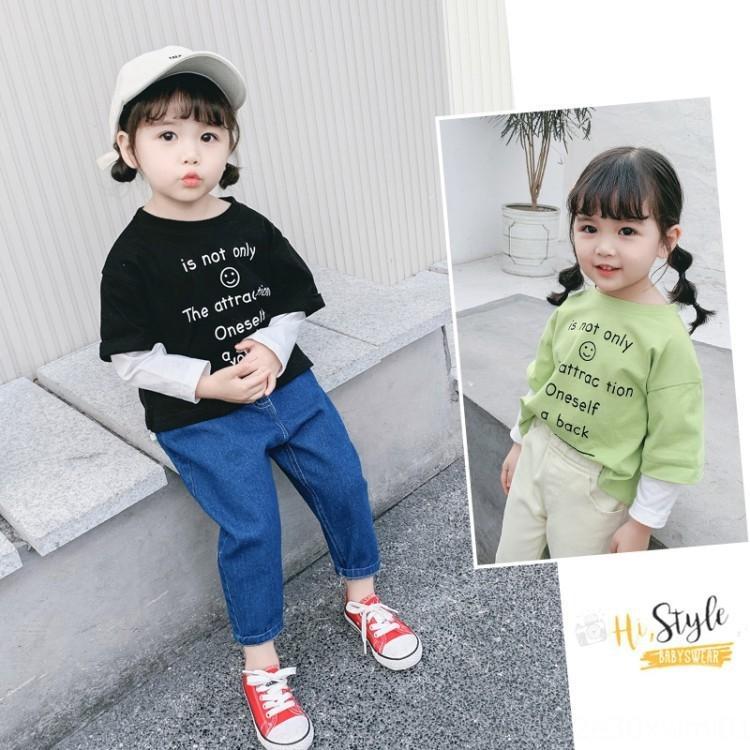 2020 Koreli bahar yeni çocuk mektup baskı sahte T iki parçalı uzun kollu tişört erkek ve kadın bebek pamuk taban gömlek
