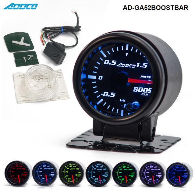 """Gauges Boost Gauges 2\"""" 52mm 7 Color LED Electrical Car Bar Turbo Boost Gauge Meter With Sensor and Holder AD-GA52BOOSTBAR"""