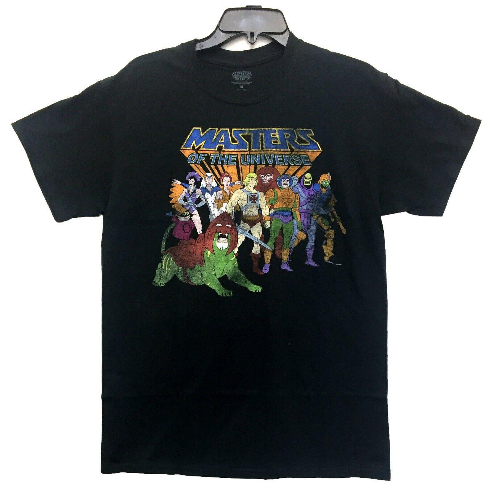 T-shirt mestres do He-Man Personagens dos homens Universo Licenciado Preto Novo