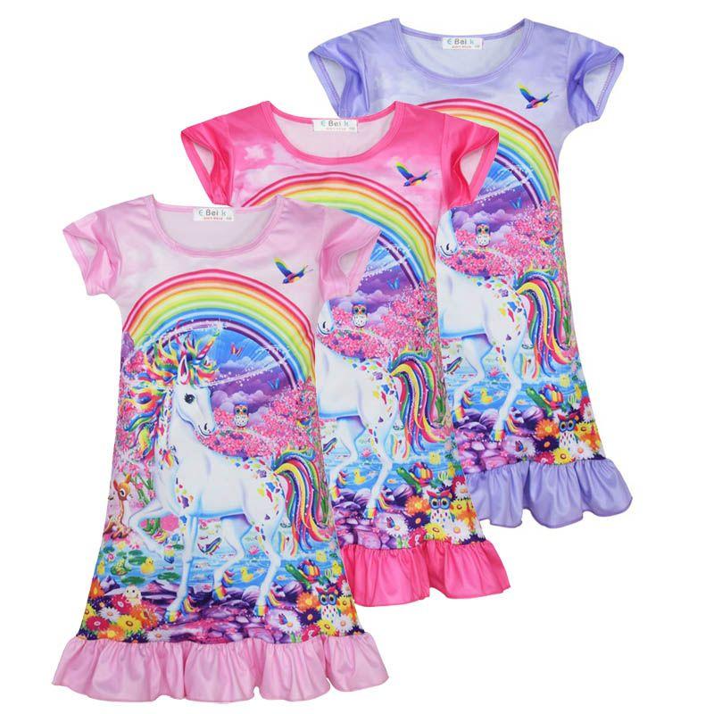 {Sweet Baby} Детские девушки Короткие рукава Симпатичные Единорог животных Лошадь Радужные Печатные Nightdress Пижамы для девочек Одежда Ежедневное платье пижамы