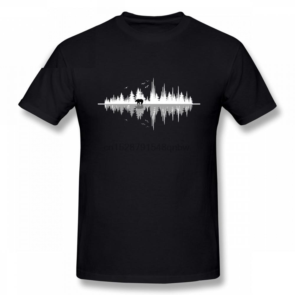 Para hombre soportar el sonido de la naturaleza camisetas Música de la onda acústica camisetas de cuello redondo para hombre de algodón puro de la novedad T camisas de manga corta impresa