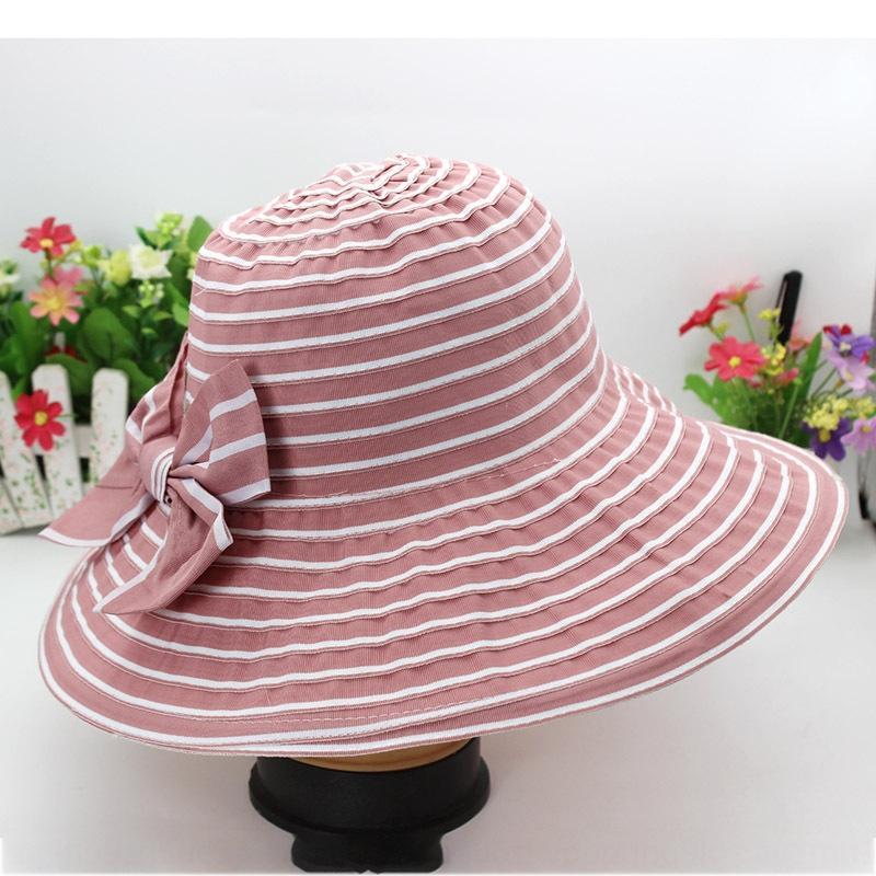 Sommer 2020 neue Frauen-Tuch große Ränder Bogen faltbaren Sonne UV-Beweis Schmetterling Hut Hut Strand