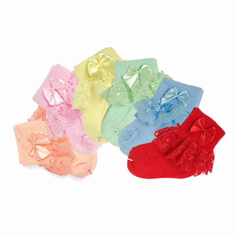 Ruffle tobillo calcetines encantadores del bebé del niño de las muchachas de la princesa del Bowknot del calcetín niños atan