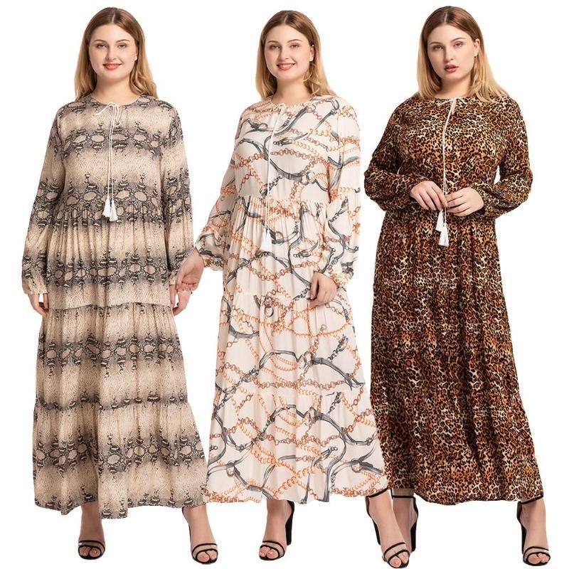 2020 Нового Плюс Размер Абай Maxi платье Женщина Мусульманского Printed Кафтан джилбаб исламского плиссе ряса Турецкий Arab Повседневных Сыпучие платья