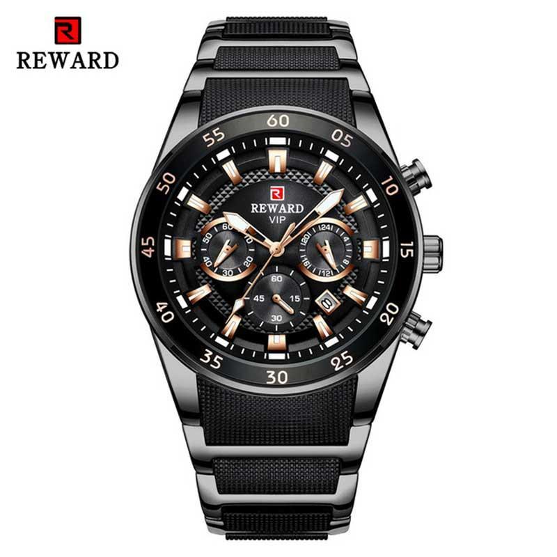 Recompensar a los hombres del reloj de la marca luminosa puntero de cuarzo azul ver todos los hombres de acero del cronógrafo del reloj impermeable de negocios Relogio Masculino