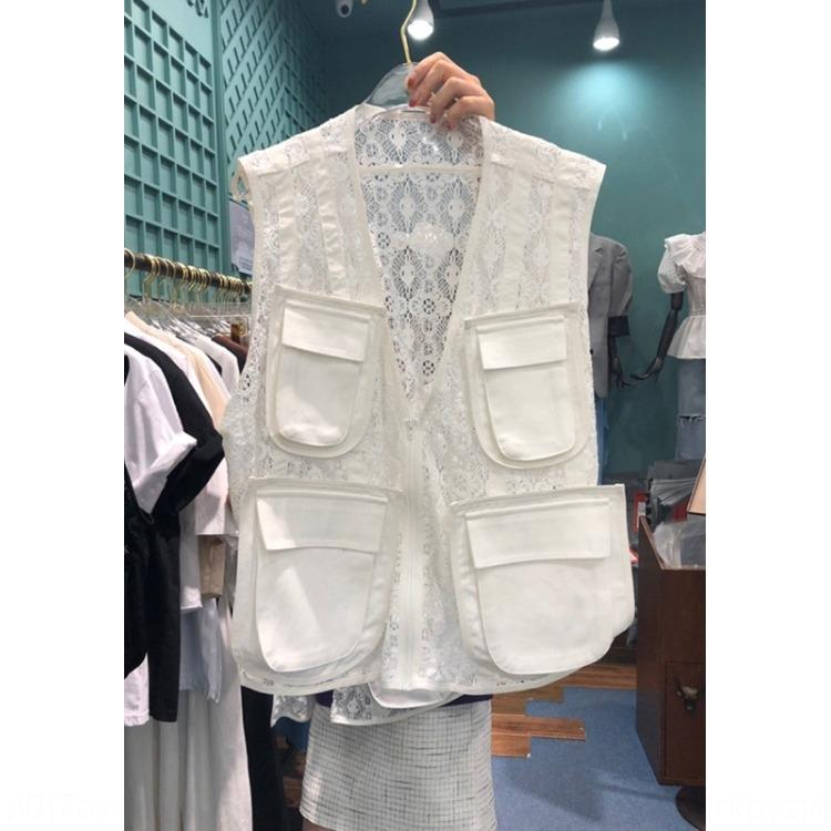 Yelek Kadın ins moda fermuar Kore dantel Yelek Dongdaemun fermuar 2020 yeni V yaka dantel düz renk Kore tarzı oyuk-out cebi