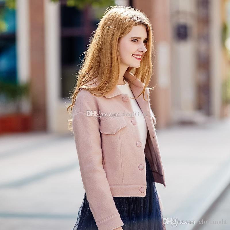 2018 Winter New Trend Women'S Temperament Lady Casual Jacket Single-Breasted Short Woolen Coat Women Lady Woolen Wool Blend Coat Short