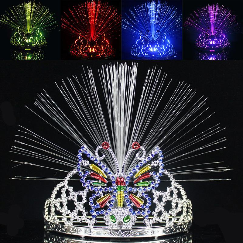 Newest LED Colorful Light Crown Masquerade Christmas Party Headgear Butterfly Crown Fiber-optic Headband Mardi Gras Gifts WX9-119