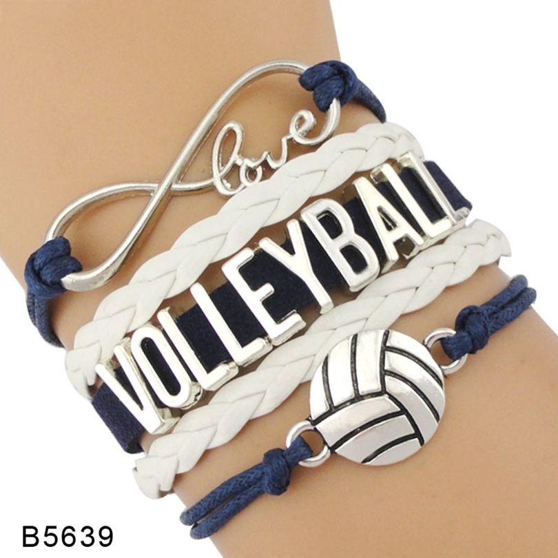 9styles Volleyball-Armband Leder und Wildleder Brief Armbänder Liebe I Heart Volleyball Besondere Schmucksachen für Frauen Männer Day Geschenk Schmuck GGA3594