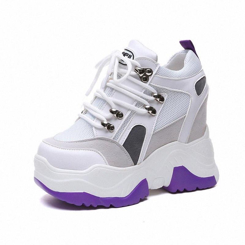 Femmes Flat Plate-forme Chaussures 2019 Blanc Talon Printemps été caché Chaussures de sport respirant Mesh Femme causales Chunky espadrille Cheap S 5YSd #