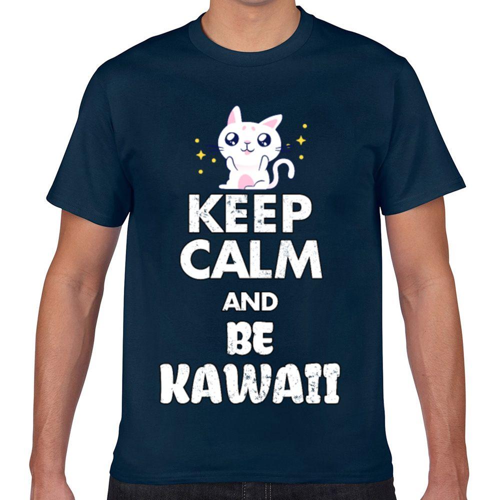 Топы Футболка Мужчины каваи эстетическим аниме милый кот Kawaii Подписи Geek Хлопок Мужчины Tshirt XXX