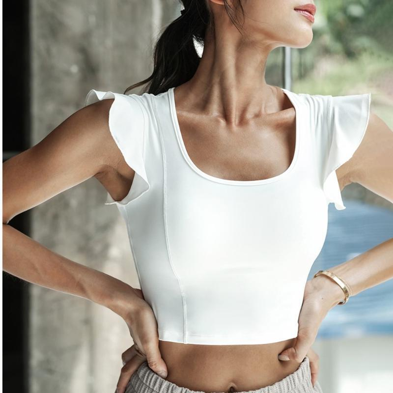 Top Top manica corta fitness maglietta sexy corta Yoga donna traspirante Running Training Sport T-shirt Lotus foglia Palestra Fitness