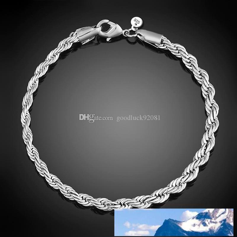 3m m 4m 925 pulseras de plata 8 mujeres pulgadas trenzado pulsera de cadena de la cuerda del abrigo para los hombres brazalete de joyería de moda s