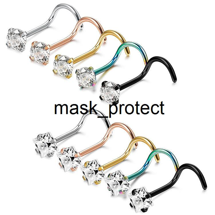 New L-shaped Hook Nail Stainless Steel Diamond Curved Bar Nose Ring Body Piercing Jewelry Hot Sale