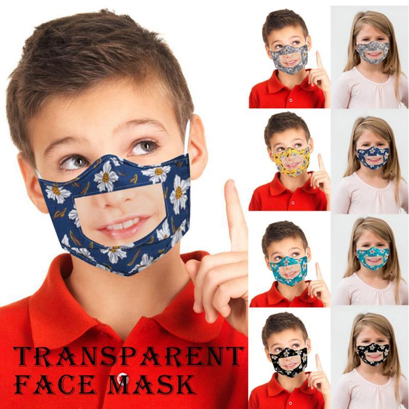 Kinder Gesichtsmaske mit Transparent Klar Fenster sichtbar Lippenablesen Gesichtsmaske Kinder Blume wiederverwendbare Gesichtsmasken YYA197