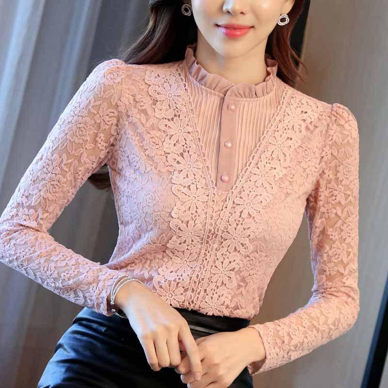 2020 blusas de Pink Mujer Camisas largas de la moda de encaje Rufflrd Manga Nuevo más el tamaño de las señoras del otoño Sexy Negro Sólido Color Blanco Tamaño Plus