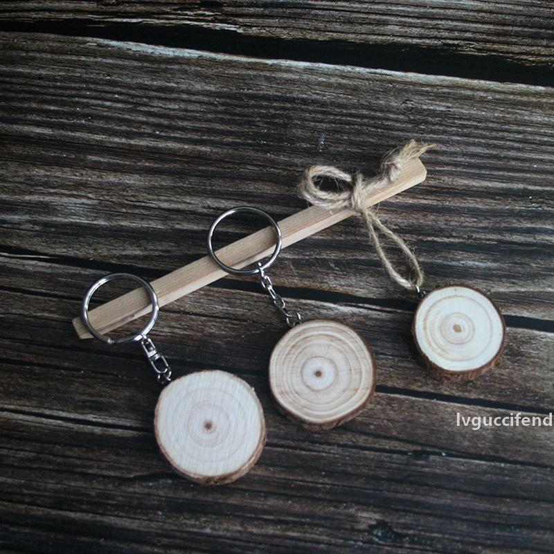 Retro Wood Keychains Round Wooden Slice Charm Key Rings Natural Unfinished Wood DIY Hand Painting Material Arts and Crafts Gifts