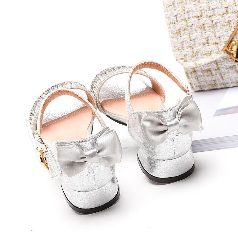 Ragazze Sandali 2020 nuovo tacco alto di cristallo della principessa Shoes Grande Childrens Word con pattini romani commercio estero bambini Sandali