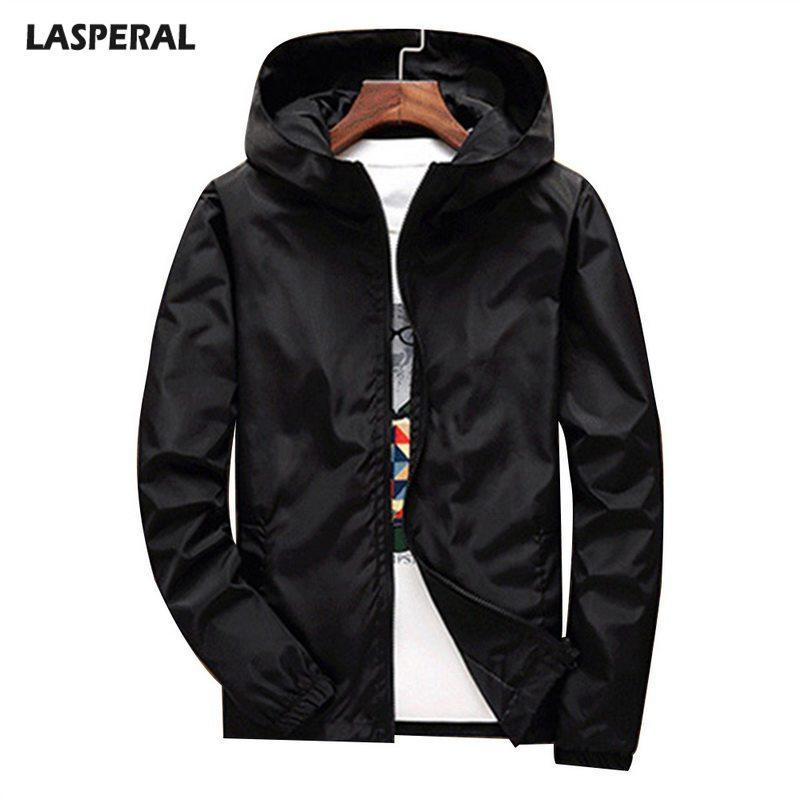 O revestimento dos homens LASPERAL soltas Sólidos Cor roupas masculinas Primavera e no Outono modelos com capuz masculino Zipper Jacket Casual