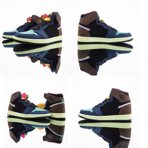 1 الأحذية baskteball العليا OG Underfeated دونك الأسود البني في سلاح البحرية مصمم الأزرق أحذية الرياضية الفاخرة أفضل نوعية احذية 555٬088-201