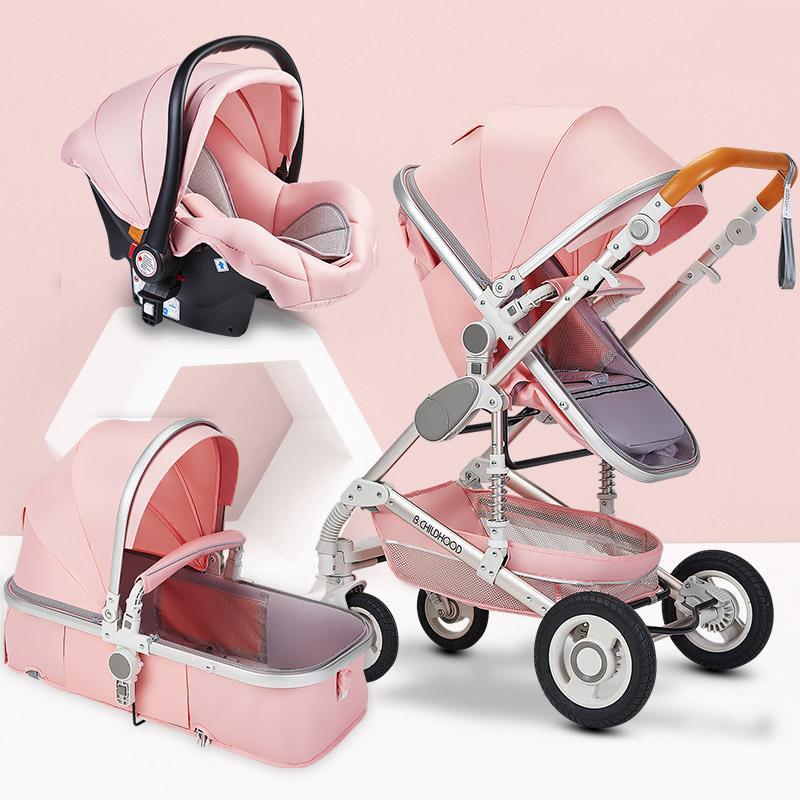 Bluechildhood Multifunction bebé do carrinho 3 em 1 carrinho de criança alta Paisagem Folding Carriage ouro Bebê recém-nascido