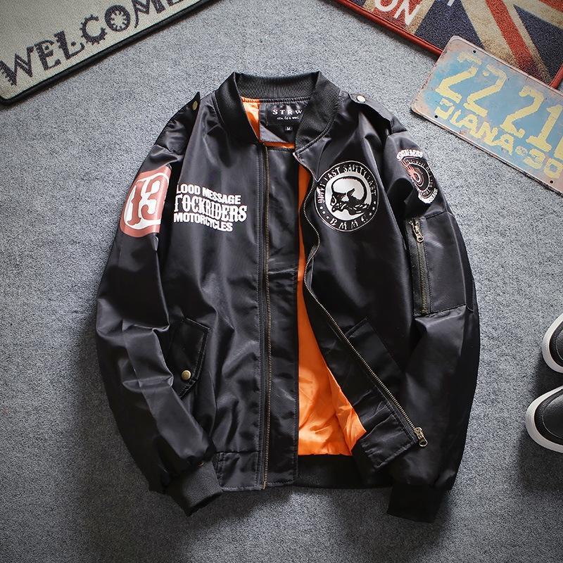 wCFiO Herbst neue Motorrad der Männer und Jugend der Frauen bestickte Baseball-Jacke Mode Pilot und weise Jacke jacketuniform Paar
