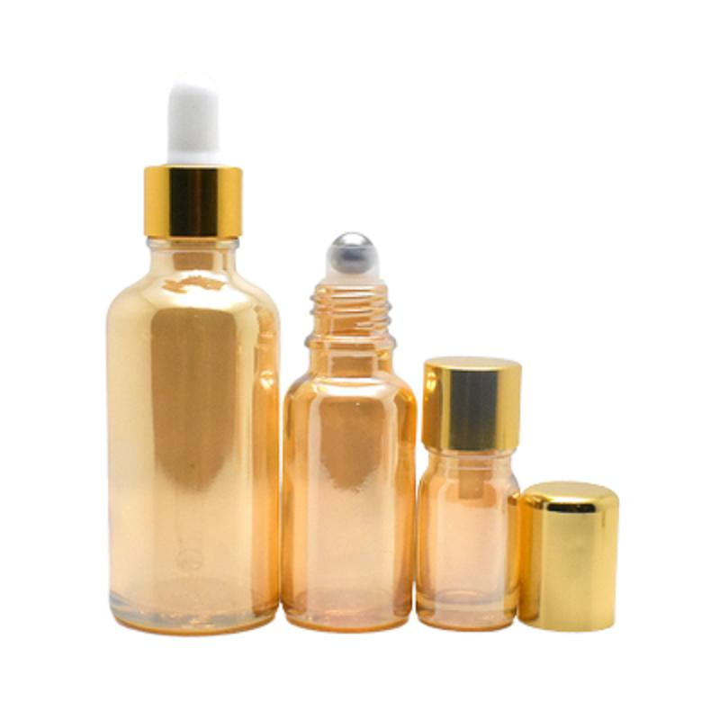 Amber Gold Glass Roll on Aroma Packaging Bottle Vial Cosmetics Roller Toner Dropper Bottle Gold Cap Essential Oil Bottles