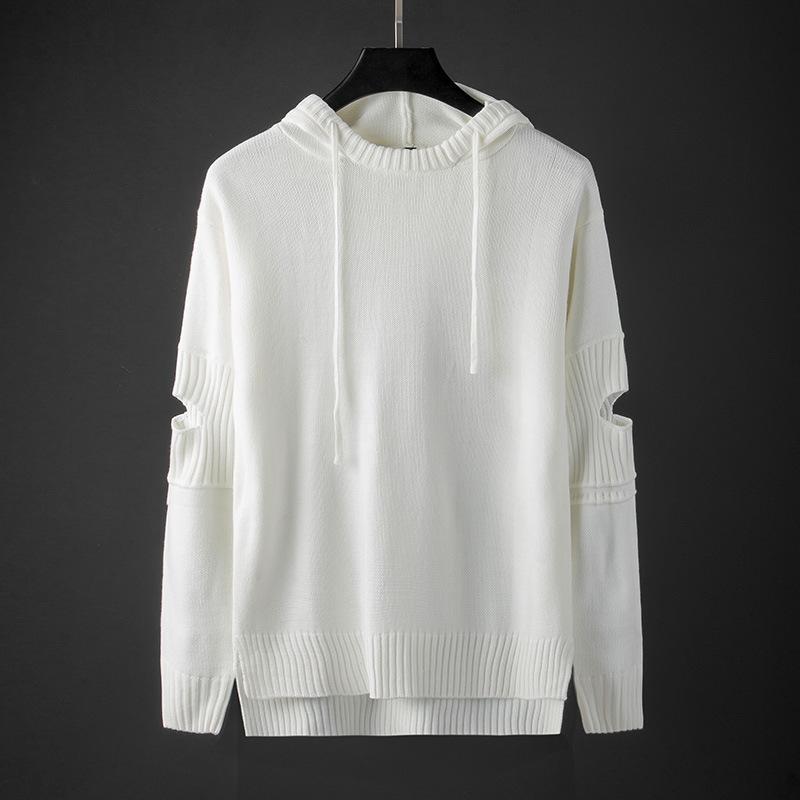 Spring Fashion gewelltes weißen Pullover Männer mit Kapuze Strick Loch Sweater Aufmaß beiläufige lose Pullover Männer Strick 3xl Männer Tops