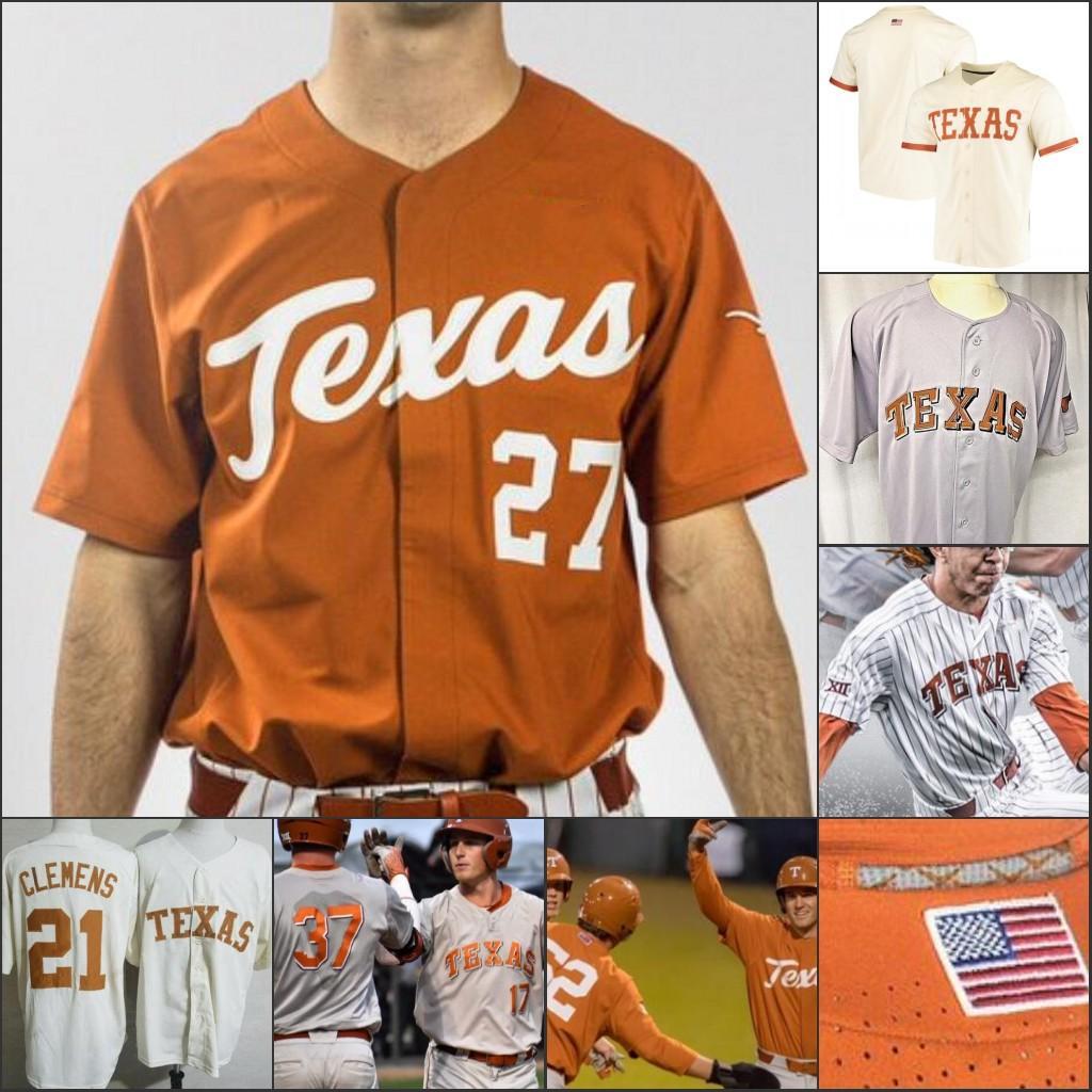 사용자 정의 텍사스 Longhorns 야구 스티치 저지 개인화 된 모든 이름 번호 데이비드 해밀턴 코디 클레멘스 테이트 쇼 라이언 롤