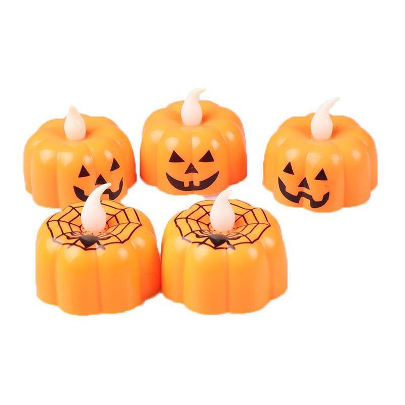 Pumpkin Spider Candle Lights Halloween Decoration Props Lights Warm White Halloween Home Decoration Accessories Party Supplies