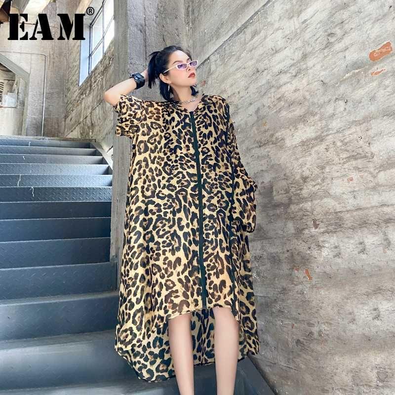 [EAM] Frauen-Leopard druckte dünne große Größen-langes Kleid New Kapuze langärmliges Loose Fit Fashion Tide Frühling Sommer 2020 1W959