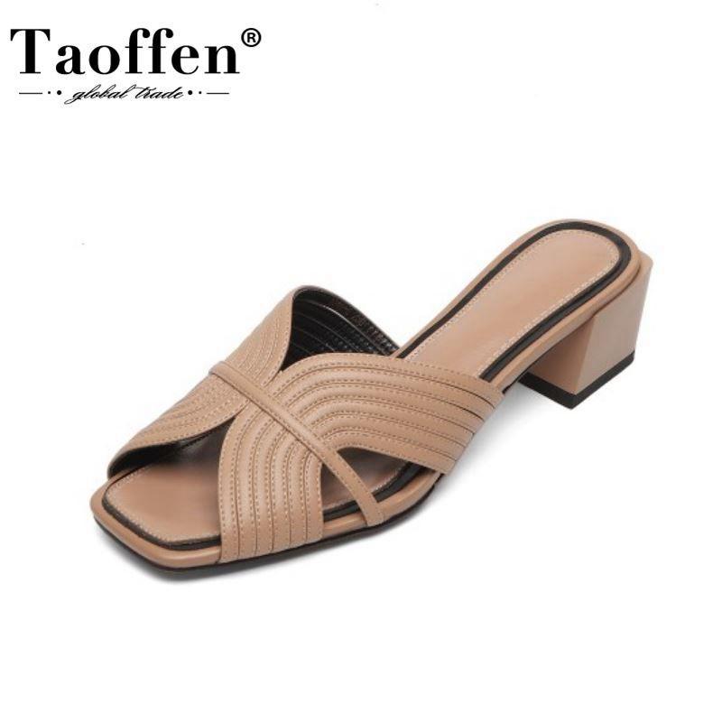 Taoffen Frauen Sandalen Schuhe Mode Peep Toe-Platz Absatz-Schuh-Frauen Solid Color Hausschuhe echtes Leder Schuhe Größe 33-40