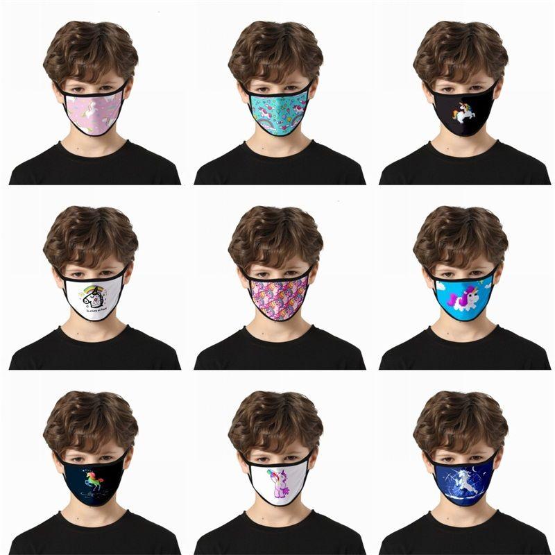 호흡 혼 말 패션 천 얼굴 마스크 세척 연기 보호 Mascherine 재사용 가능한 사용자 정의 어린이 성인 2 2gla C2 인쇄 유니콘