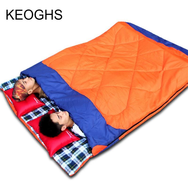acampar al aire libre doble saco de dormir tipo de sobre llenado de algodón gruesa fácil de llevar la luz de mantener caliente 4 estaciones saco de dormir