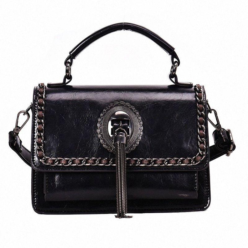 PU Vintage de couro Senhoras bolsas Mulheres Messenger Bags Totes Tassel Selvagem Mão Crossbody Shoulder Bag Praça Female Bag FhtO #