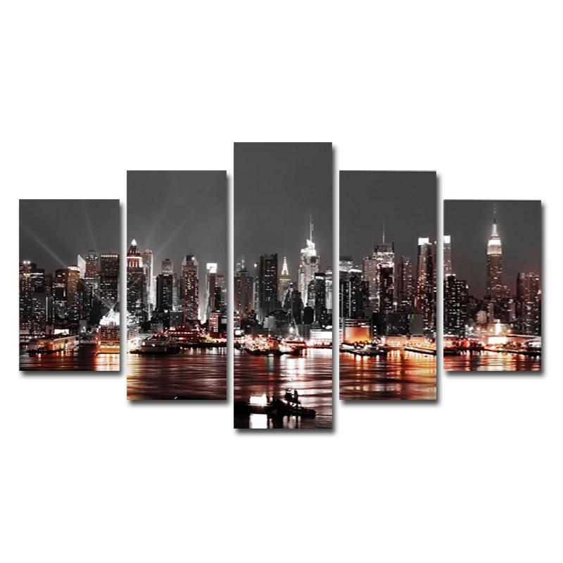 Modern Wall Art Cityscape Canvas Wall Art Landscape Picture on Canvas Black and White Wall Painting for Bedroom Unframed 5 Piece