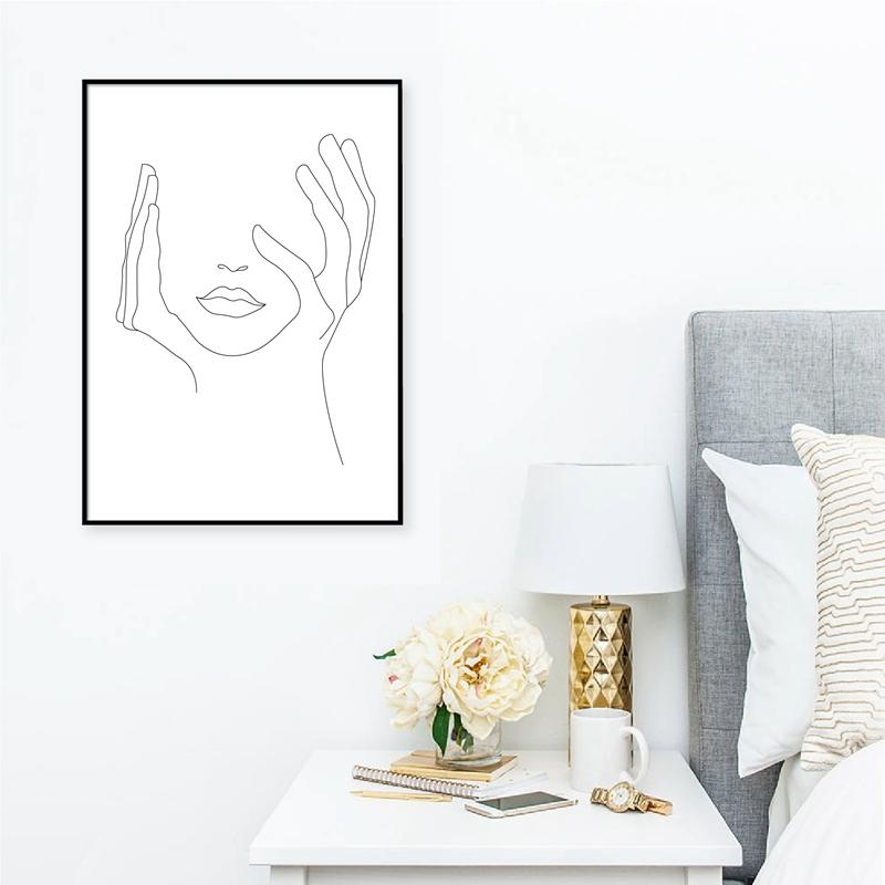 Hands On Face Lips Wall Art Canvas Posters Prints Sketch Art Line Drawing Painting Minimalist Woman Wall Picture Home Decoration