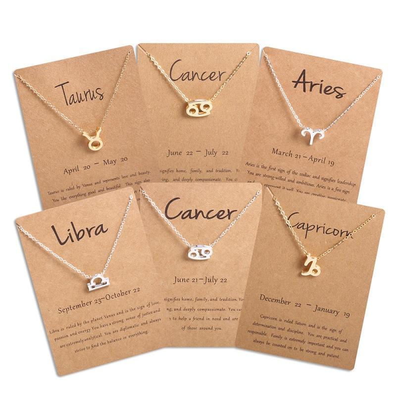 Мужчины Женщины 12 Знак зодиака Знак ожерелье Овен Лев 12 созвездий ювелирных изделий Детские рождественские подарки для девочек