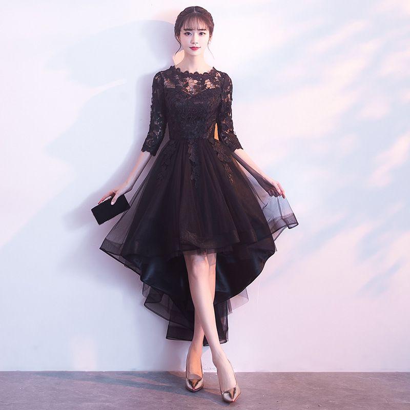 Bankett-Abendkleider 2020 neue kurze vordere lange rückseitige elegante Partei-Kleid-Schwarz-Abend Halbarm Haute Couture